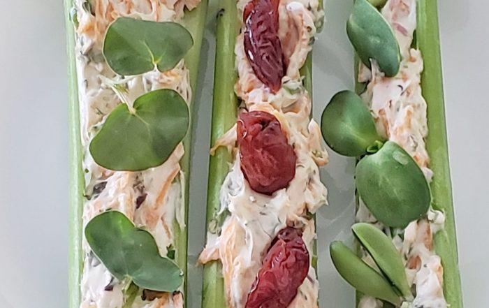 celery stuffed with microgreens