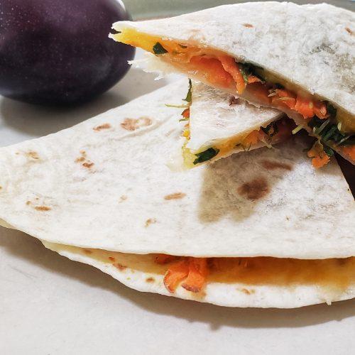 Carrot Quesidilla with microgreens